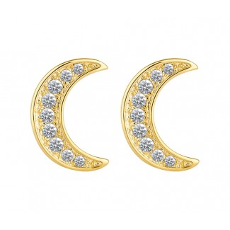 Crescent Earrings in 14K Gold Plating, Embellished with Crystals from Swarovski®
