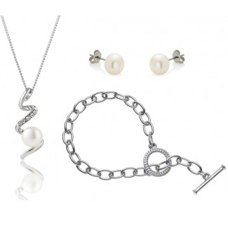 Freshwater Pearl Devotion Set with Tiffany-Style Bracelet