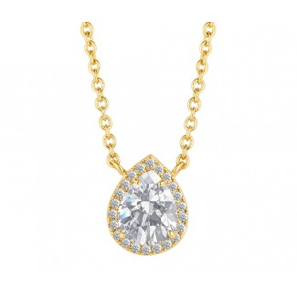 Droplet Pendant in 14K Gold, Embellished with Crystals from Swarovski®