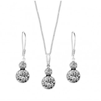 Duo Pendant and Duo Earrings Set, Embellished with Crystals from Swarovski®
