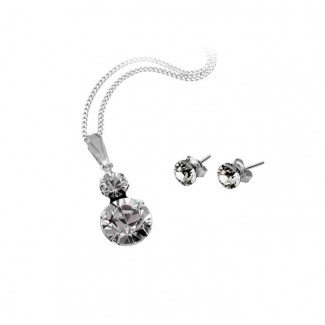 Duo Pendant and Solo Stud Earrings Set, Embellished with Crystals from Swarovski®