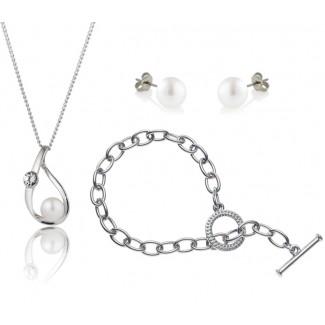 Freshwater Pearl Elegance Set with Tiffany-Style Bracelet