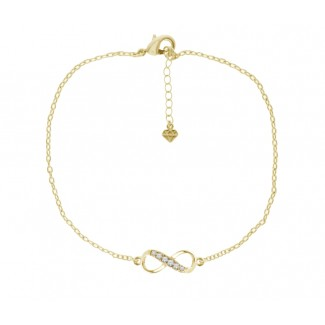 Infinity Anklet in 14K Gold Plating, Embellished with Crystals from Swarovski®