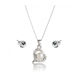 Freshwater Pearl Love Pendant and Solo Stud Earrings Set