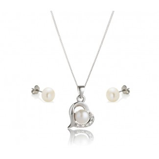 Freshwater Pearl Love Pendant and Pearl Stud Earrings Set