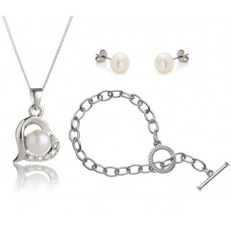 Freshwater Pearl Love Set with Tiffany-Style Bracelet