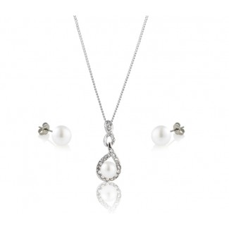 Freshwater Pearl Adaliz Pendant and Pearl Stud Earrings Set