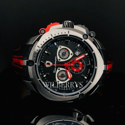Men's Shield Black/Red Trim Watch