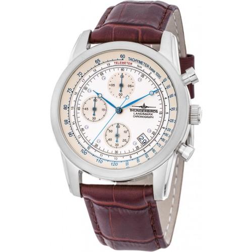 Landmark Chronograph Leather Brown/White