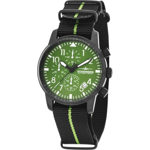 Huron Chronograph Black/Green Dial