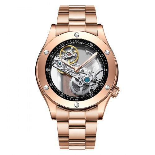 Aigon Hollow Automatic Steel Rose Gold