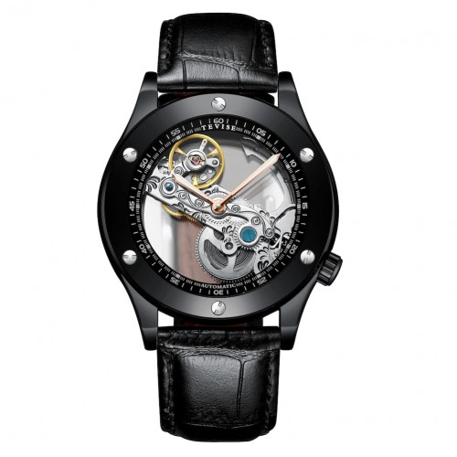 Aigon Hollow Automatic Leather Black