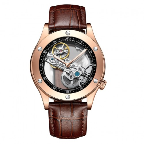 Aigon Hollow Automatic Leather Rose Gold/Brown