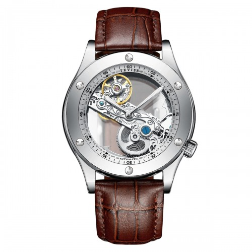 Aigon Hollow Automatic Leather Silver/Brown