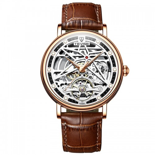 Amistad Wheel Automatic Leather Rose Gold/White