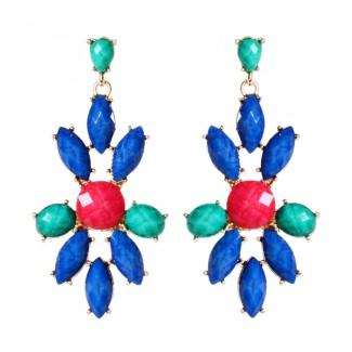 East End Earrings Blue Lapis/Turq/Ruby