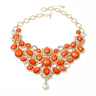 Crystal South Fork Bib Fall Necklace Coral