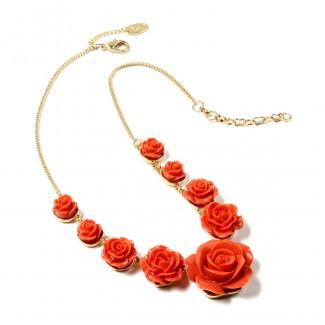 Tea Rose Necklace Coral