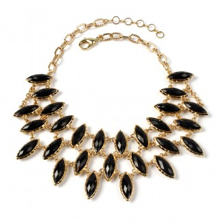 AMRITA NEW YORK Marquis Reversible Bib Necklace Black/White Jade