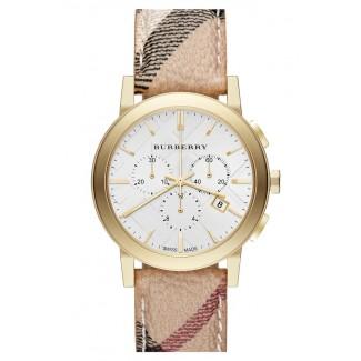 Round Chronograph Leather Strap Watch BU9752