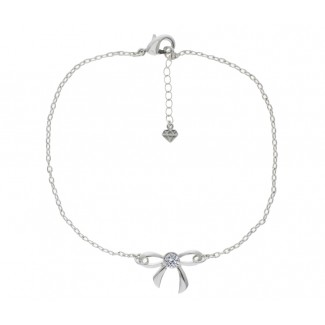 Bow Anklet, Embellished with Crystals from Swarovski®