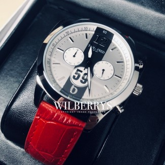 TOM & FRED LONDON British Racing 59 Brabham Red Leather Watch 1/1000