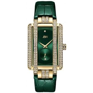 Women's Mink .12 ctw Diamond 18K Gold-Plated Emerald Watch