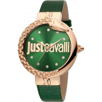 Bold 40mm Leather Rose Gold/Green Zirconia