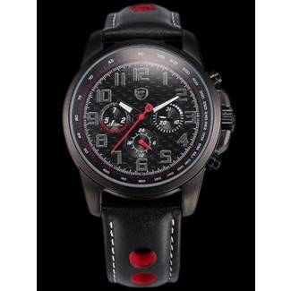 Men's F1 RELOGIO II Black/Red Leather Dual Time 47MM Chronograph Watch SH186